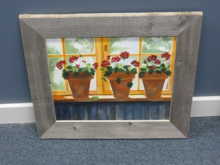 Geranium Oil Painting with Handmade Frame