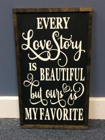 "Handmade ""Love Story"" Sign"