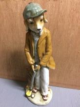 Golfing Dog Figurine