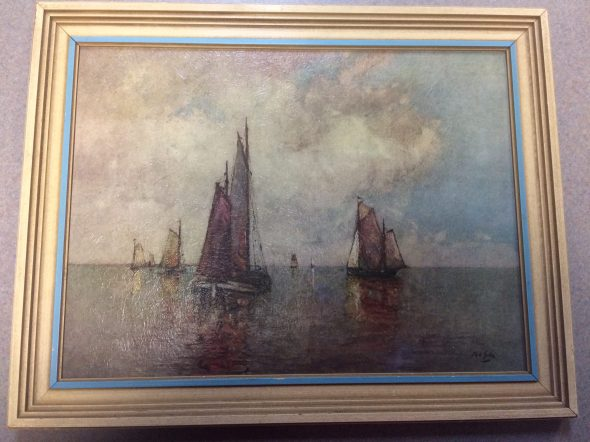 "Vintage Print ""At Anchor"" by Rudolph Guba"
