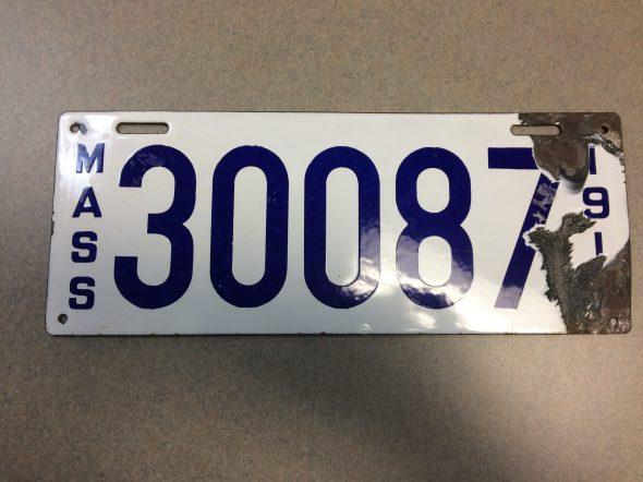 Turn of the Century Enamel License Plate