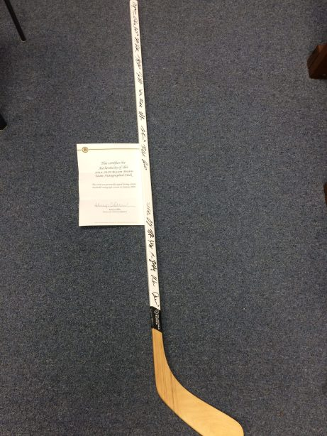 Autographed Boston Bruins Hockey Stick with certificate of authenticity